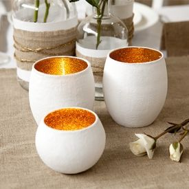 Create these beautiful votives. Perfect decorations for any wedding table. (I have 20+ votive holders. We could do this w/any color) K&D