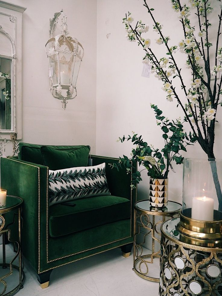 Business Spotlight On: Sweetpea & Willow  green velvet armchair