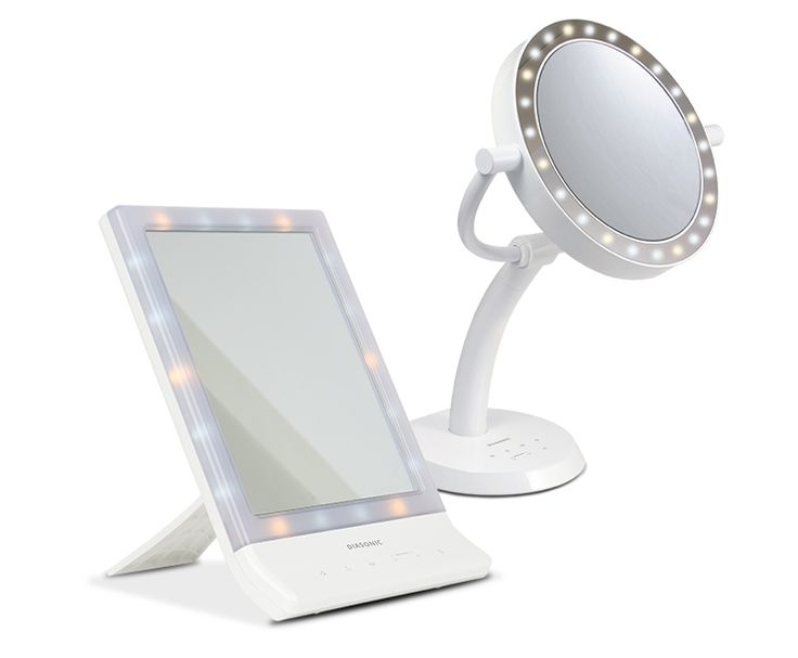 Sminkspegel med LED-belysning som kan ställas i olika färgtemperatur, inkl dagsljus.