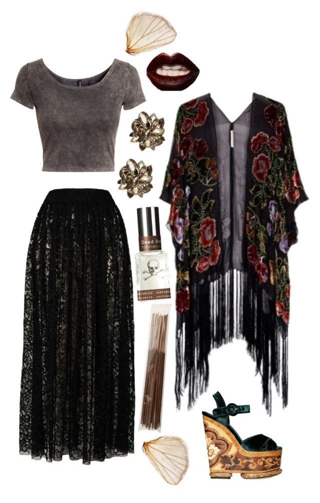 """Bohemian Goth"" by emelynmichal ❤ liked on Polyvore featuring Goldie, Kite and Butterfly, H&M, Dolce&Gabbana, Manic Panic, Alexis Bittar, TokyoMilk and Votivo"