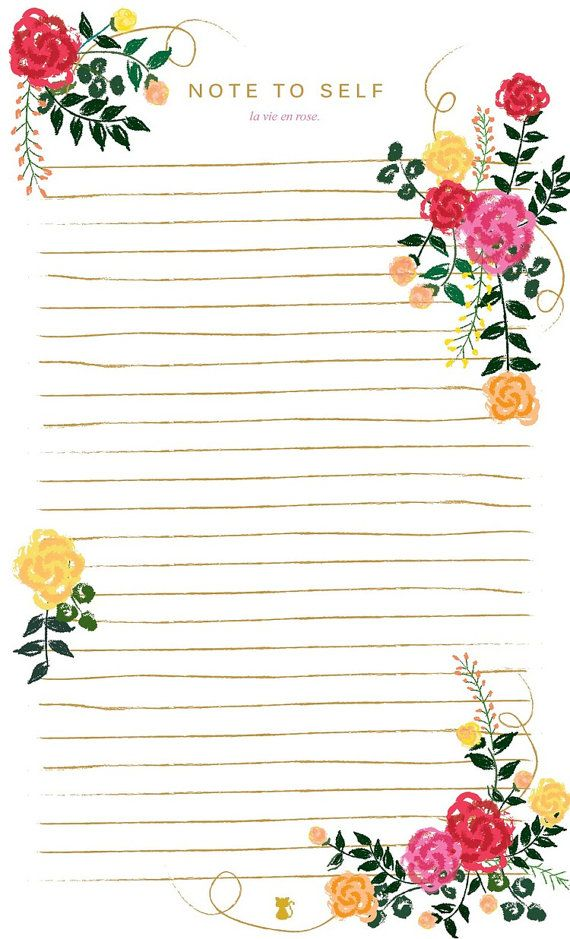 La Vie En Rose Floral Lined Notepad | To Do List Notes Home Office Student Supplies Deskpad Paper Planner Diary Journal