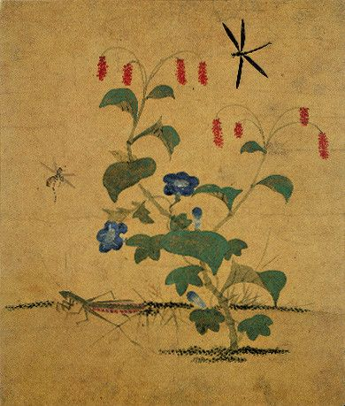 (Korea) 산차조기와 사마귀 by Lady Shin Saimdang (1504-1551). 34.0×28.3cm. color on silk. National Museum of Korea.