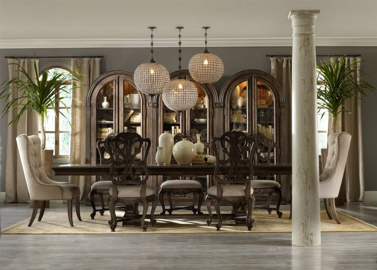 rhapsody rectangular dining group w 2 tufted chair by hooker furniture