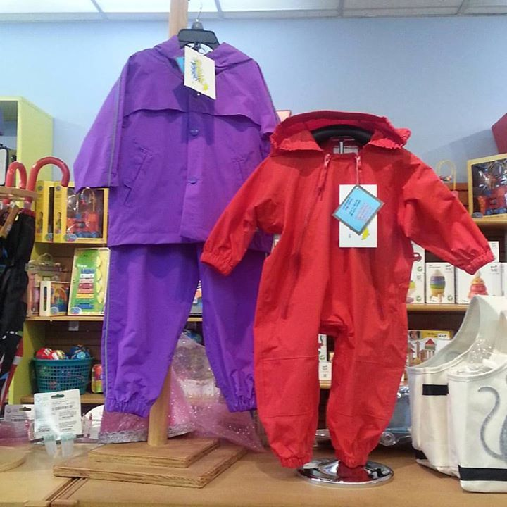 Just in the middle of restocking Splashy separates and 1 piece suit Muddy Buddys - they have been flying out the door with the increase of wet weather!