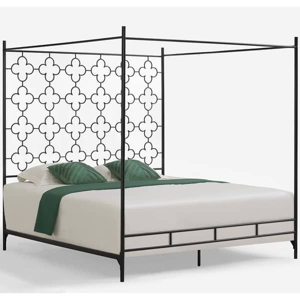 King Size Canopy Bed, The Curated Nomad Quatrefoil Queen Canopy Bed