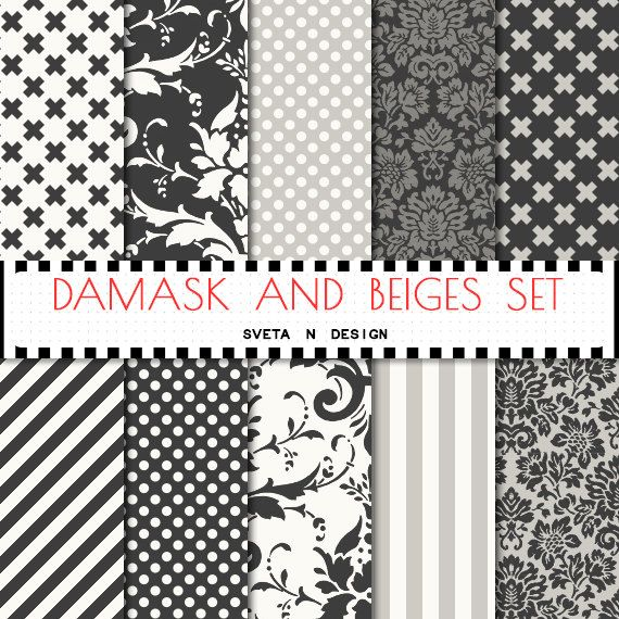 Damask digital paper with damask pattern and other patterns in grey and beige patterns