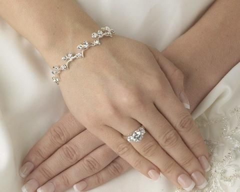 Wedding Bracelets - Silver Crystal Wedding Bracelet, Agnes