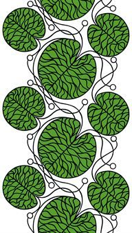 Bottna is a white cotton fabric from Marimekko with a black and green graphic pattern by Anna Danielsson. You can for example sew lovely curtains, oven mitts and cushion covers of the Bottna fabric.