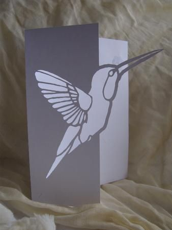 HUMMING BIRD OVER THE EDGE CARD on Craftsuprint designed by Clive Couter - gsd files; with optional shaped backing plate - Now available for download!