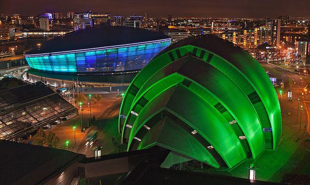 Hydro arena Glasgow at night
