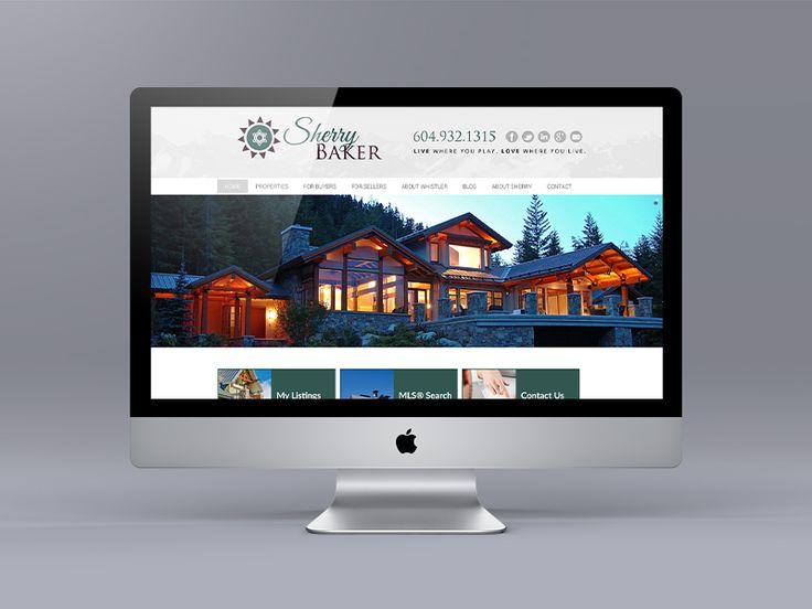 New website for Whistler Realtor Sherry Baker using the Ubertor CMS. Interesting grey, green and burgundy colour combination.