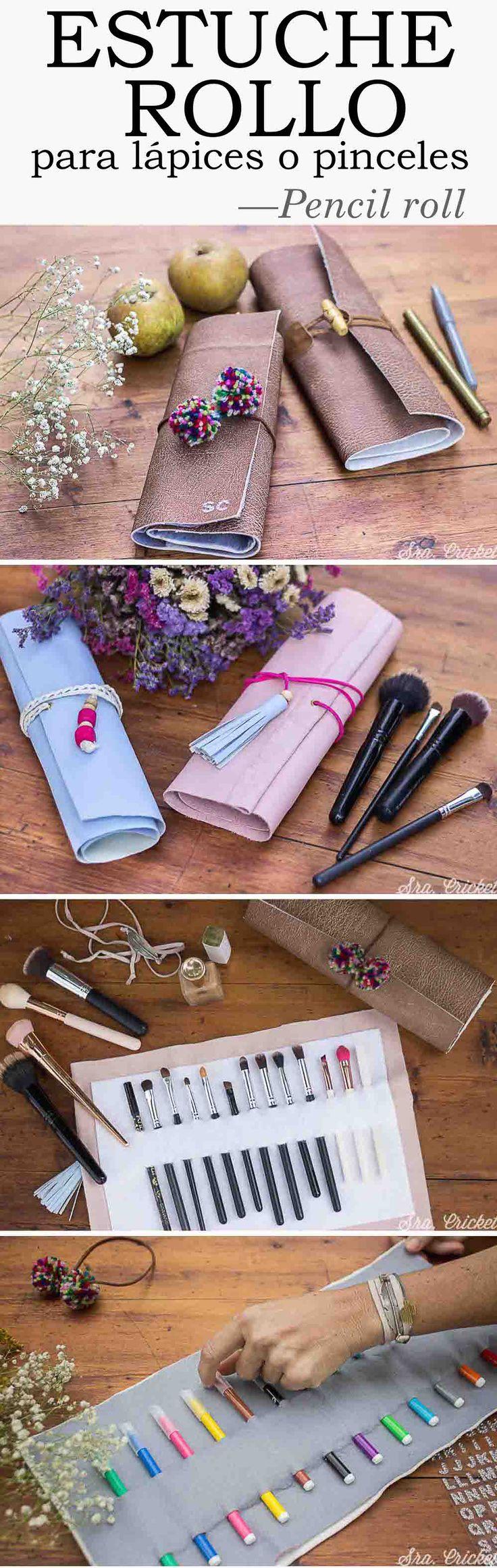 Craft, diy, estuche rollo para lápices, brochas o pinceles de maquillaje. #estucherollo #diy #manualidades #crafts #estucheenrollable #pencilroll #pencilwrap #makeupcase
