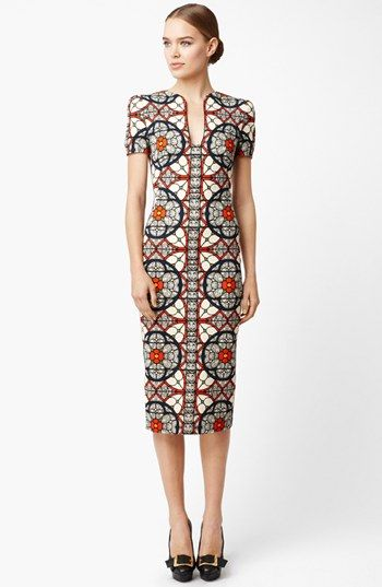 Alexander McQueen Stained Glass Print Wool Crepe Dress. Latest African Fashion, African Prints, African fashion styles, African clothing, Nigerian style, Ghanaian fashion, African women dresses, African Bags, African shoes, Nigerian fashion, Ankara, Aso okè, Kenté, brocade etc ~DK
