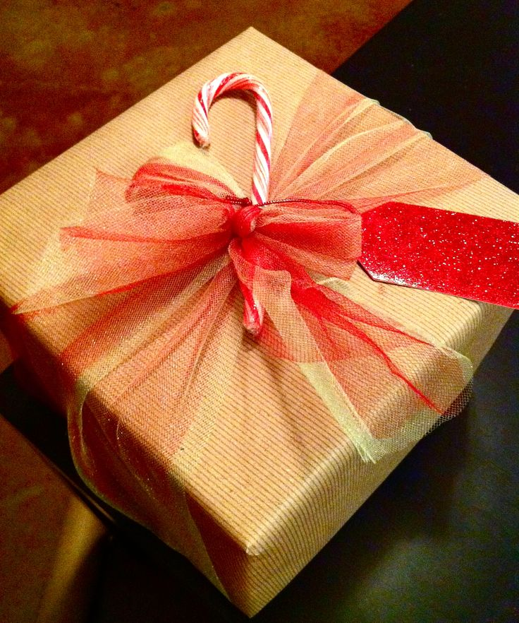 Christmas wrapping complete with a Candy Cane!
