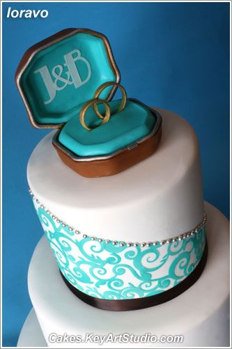 Turquoise and Chocolate Brown Wedding Cake, via Flickr.