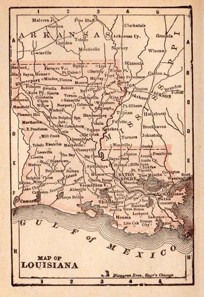 RARE 1896 Antique LOUISIANA Map  RARE MINIATURE Map of Louisiana 2742
