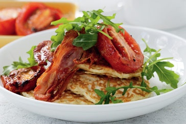 Sweetcorn fritters with roast tomato and crispy bacon http://www.taste.com.au//recipes/23685/sweetcorn+fritters+with+roast+tomato+and+crispy+bacon