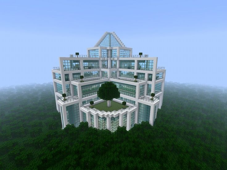 Minecraft massive Quartz and glass building in the middle of a jungle biome