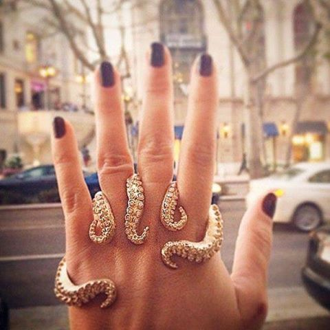 'Yellow gold and white diamond octopus tentacle ring'