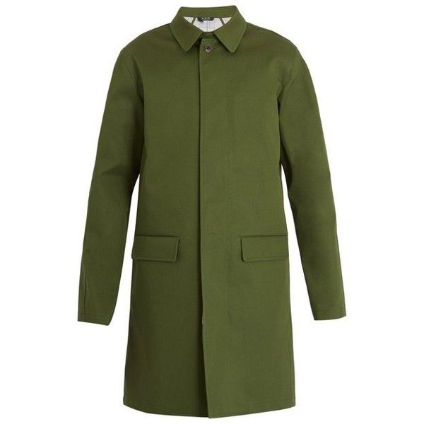 A.P.C. Carnaby cotton-blend coat ($620) ❤ liked on Polyvore featuring men's fashion, men's clothing, men's outerwear, men's coats, green, mens slim fit coat, mens green trench coat, mens trench coat, mens green sport coat and mens slim trench coat