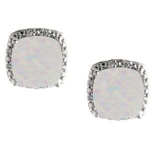 Cushion Cut Opal October Gemstone White Gold Diamond Earrings Available Exclusively at Gemologica.com