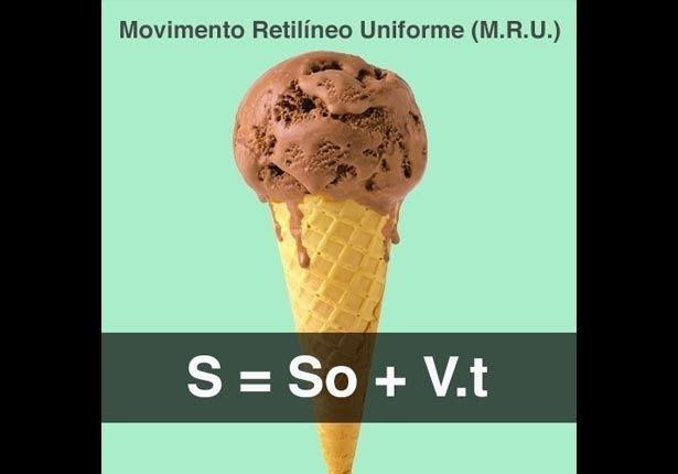 FÍSICA (fórmula Movimento Retilíneo Uniforme - MRU): Um sorvete para quem se lembrar da fórmula de medir o tempo, espaço e velocidade no Movimento Retilíneo Uniforme (M.R.U.)