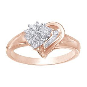 1/5 Ct Baguette & Round Natural Diamond Heart Promise Ring 10K Rose Gold # With Free Stud Earring by JewelryHub on Opensky