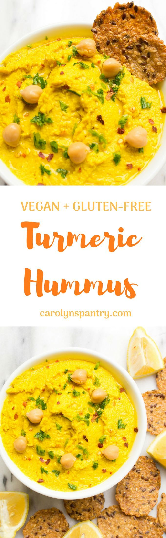 This Turmeric Hummus recipe is THE easiest and most delicious thing you could possibly eat! So perfect for buddha bowls, salads, and avocado toasts.