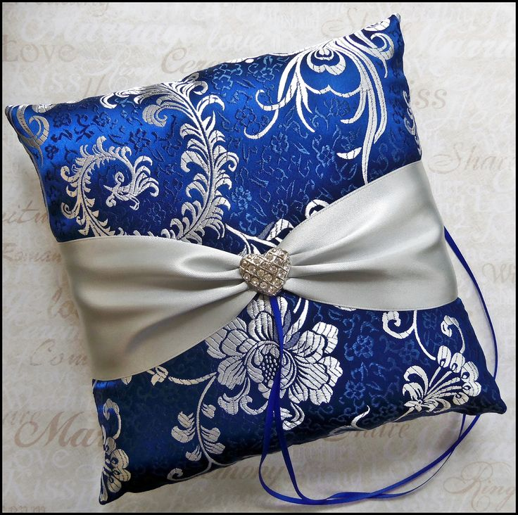 Wedding Ring Bearer Pillow, Royal Blue and Silver Gray, Ring Bearer Ceremony Accessories. $48.00, via Etsy.