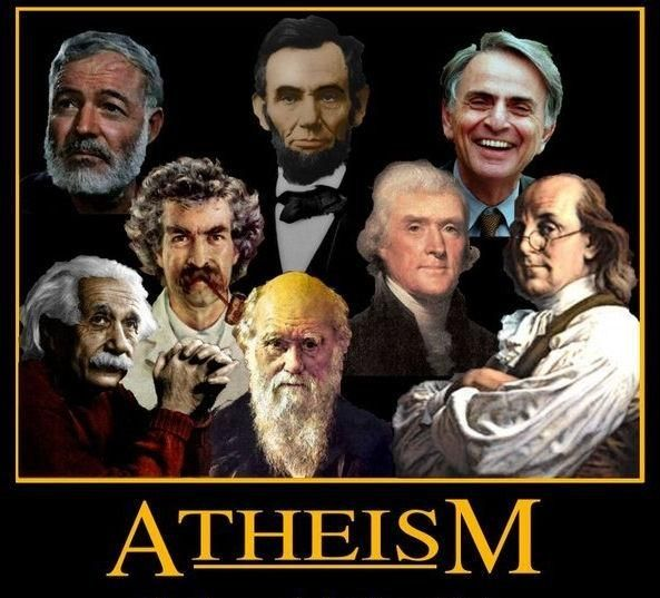 Athées célèbres :  Ernest Hemingway, Albert Einstein, Mark Twain, Abraham Lincoln, Charles Darwin, Thomas Jefferson, Carl Sagan, and Ben Franklin.