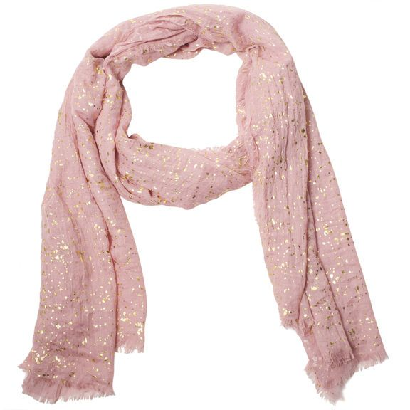 See 5 ways to wear a scarf on People Style Watch & Joyus.com our Speckled Metallic Scarf in Pink #subtleluxury