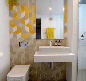 Geometric tiles and chunky vanity The Block Sky High Melbourne Trixie and Johnno
