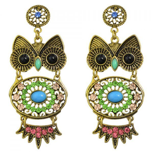Pair of Chic Rhinestone Faux Turquoise Owl Earrings For Women #shoes, #jewelry, #women, #men, #hats