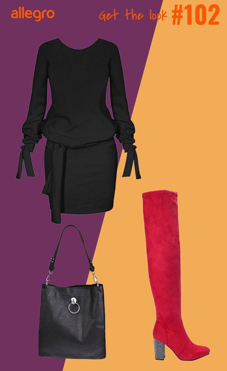 Czarna Sukienka Mini Czerwone Kozaki Na Slupku Czarna Skorzana Torebka Na Ramie Fashion Moda Polyvore