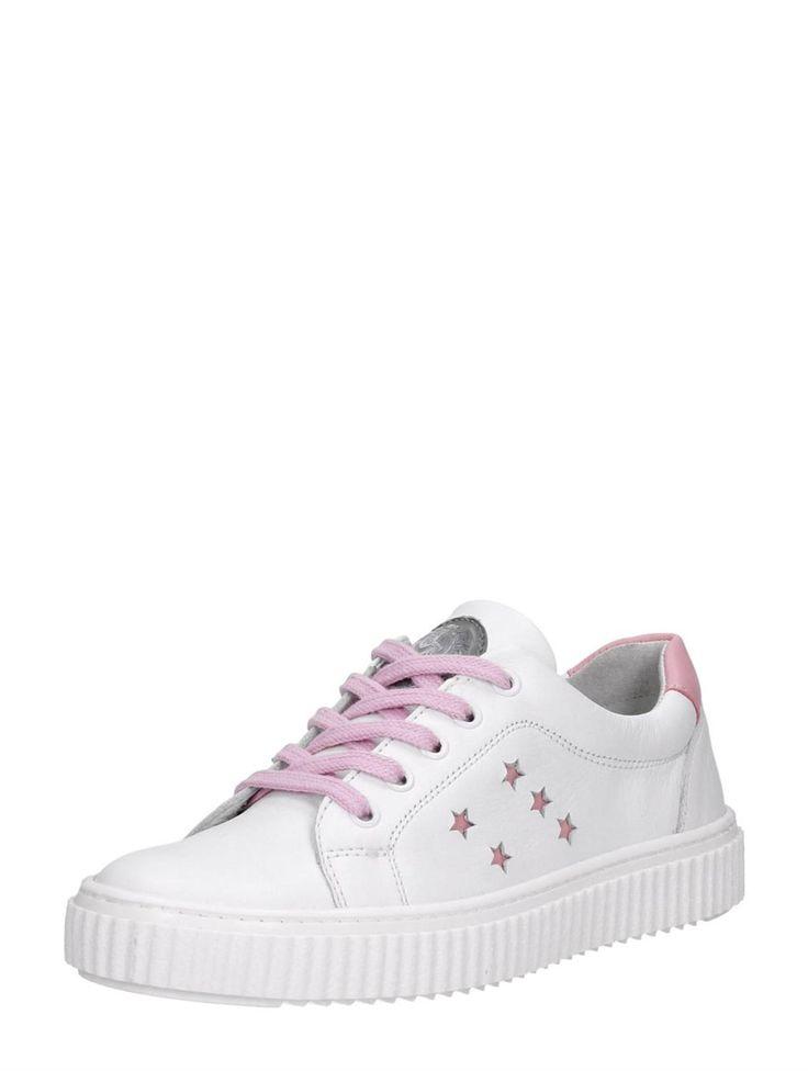 Keq lage meisjes sneakers van leer - wit met roze accenten