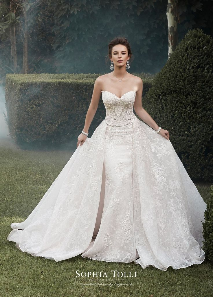 Sophia Tolli Y21764 Gemini Strapless lace wedding dress