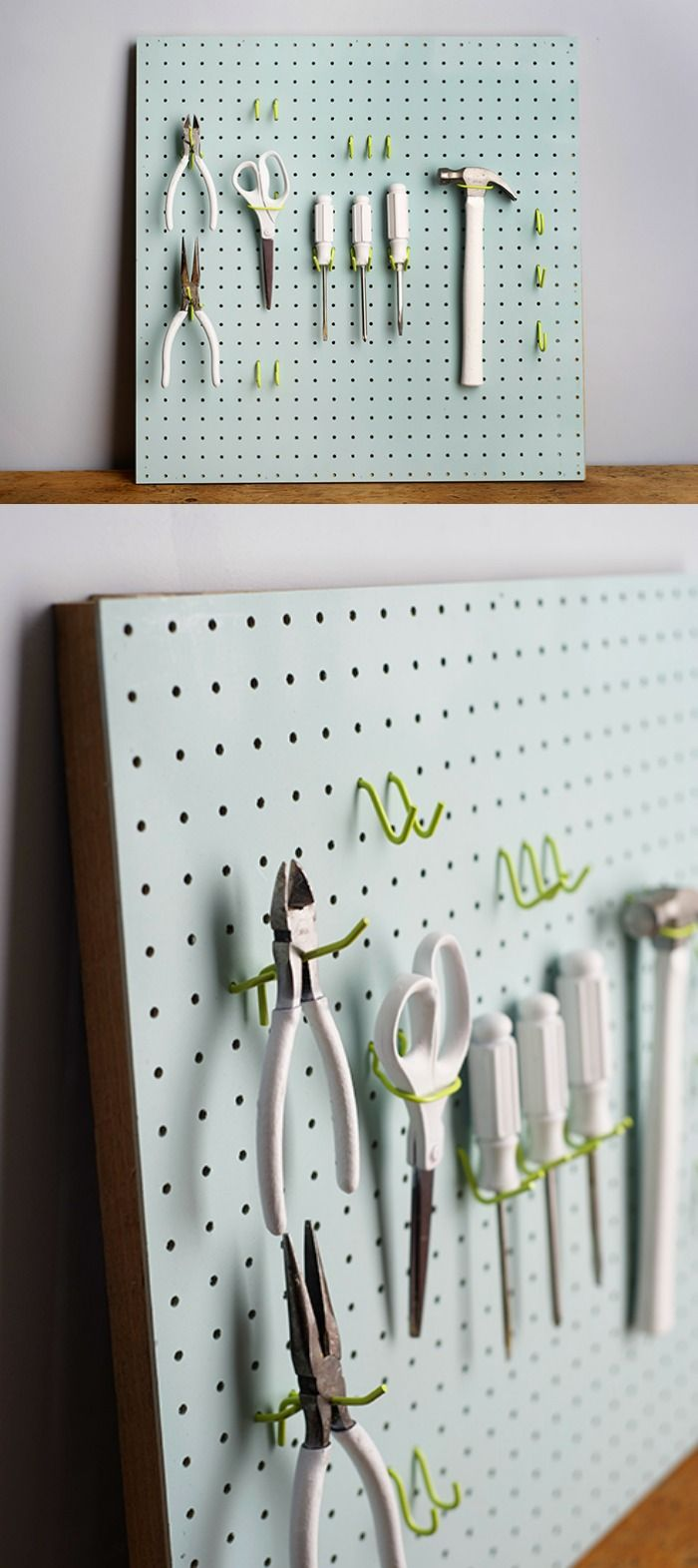 Painted pegboard - just because you can. I love this color combination! This would be fun for my craft studio.