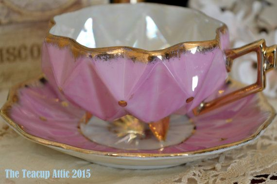 Royal Sealy Unique Lustreware Pink Teacup And by TheTeacupAttic