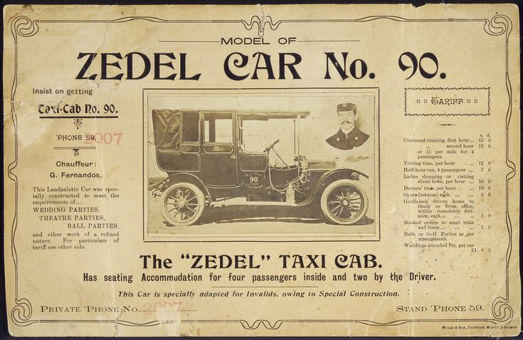 """Model of Zedel Car no. 90, the """"Zedel"""" taxi cab, circa 1910, Photolithograph, Printed Ephemera Collection, Alexander Turnbull Library"""