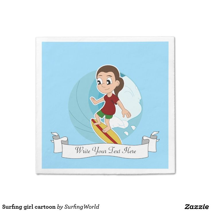 Surfing girl cartoon standard cocktail napkin
