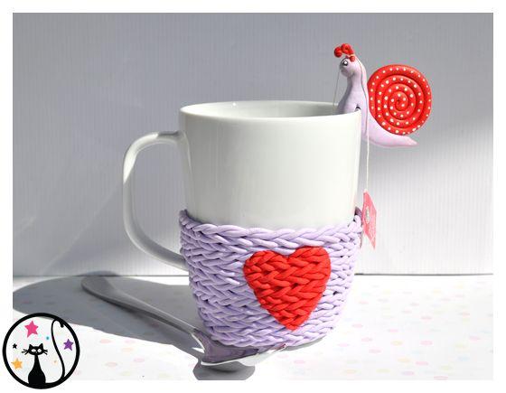Cosy Mug version tricot en fimo. Porte sachet de thé escargot en fimo (tea bag)