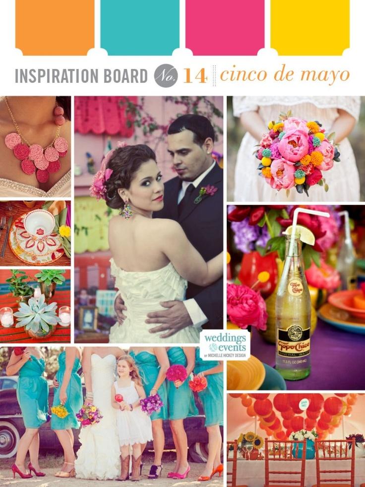 cinco de mayo wedding inspriation board PALETA DE COLORES