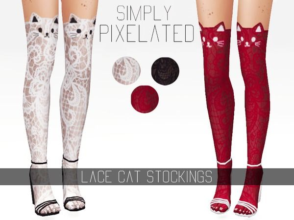 The Sims Resource: Lace Cat Stockings by SimplyPixelated • Sims 4 Downloads