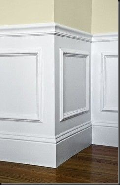You are KIDDING me!! Easy wainscotting idea: buy frames from Michael's, glue to wall and paint over entire lower half. Got this tip from a savvy home improvement person.