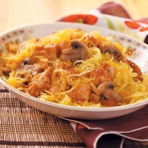 Spaghetti Squash with chicken, mushrooms, cheese