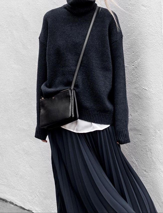 the black on black on pleats on darkblue on celine bag