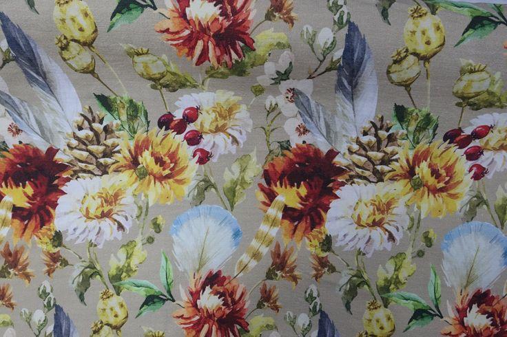 Woodland - Autumn, on 100% textured cotton.  www.whatnot.co.za