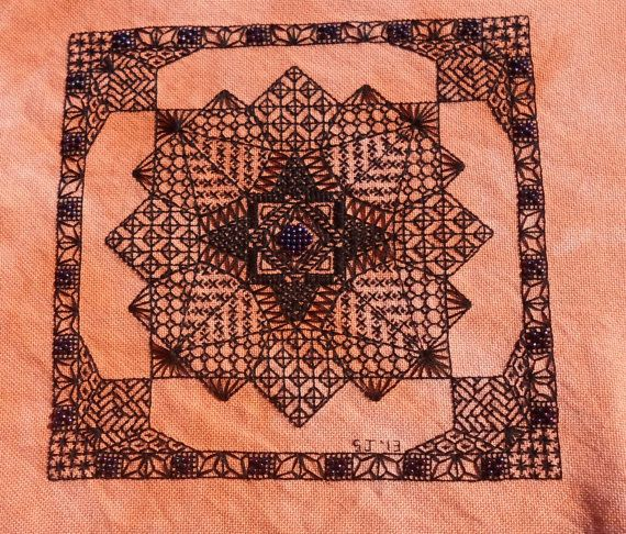 Morroccan Web - A design using blackwork and beads