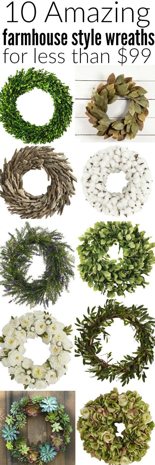 The best farmhouse style wreaths! A must pin if you are shopping for wreaths! They are great for indoors, outdoors, doors, centerpieces, walls, & so much more!!
