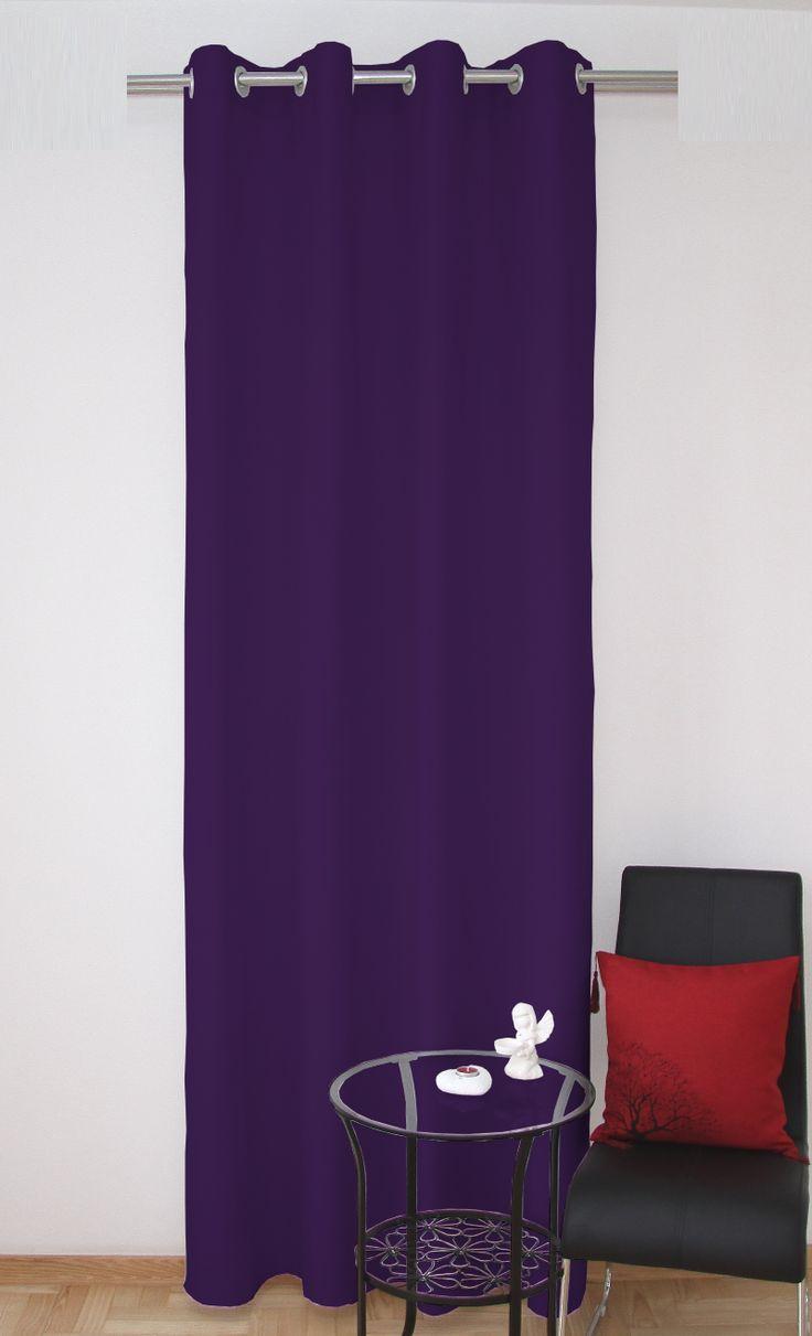 Jednolite zasłony do salonu w kolorze fioletowym